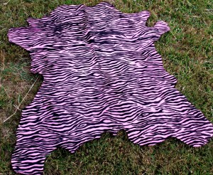 Calf Hide Dyed Pink Zebra
