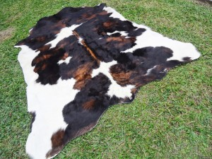 Cow hide Skin Rug Chocolate Tricolor 50/50