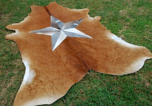Cowhide Skin Rug Center Star