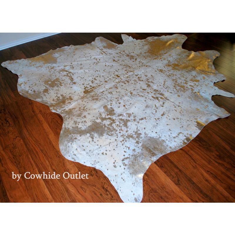 Cowhide Rug Acid Wash Gold Large