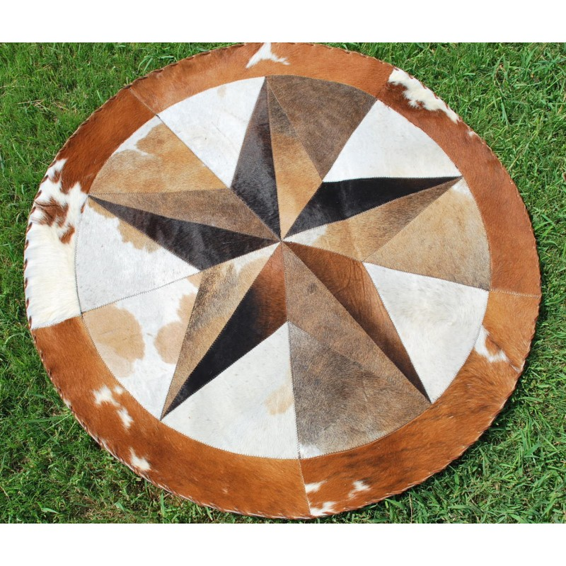 Star Cowhide Rug Round 3d Multicolor