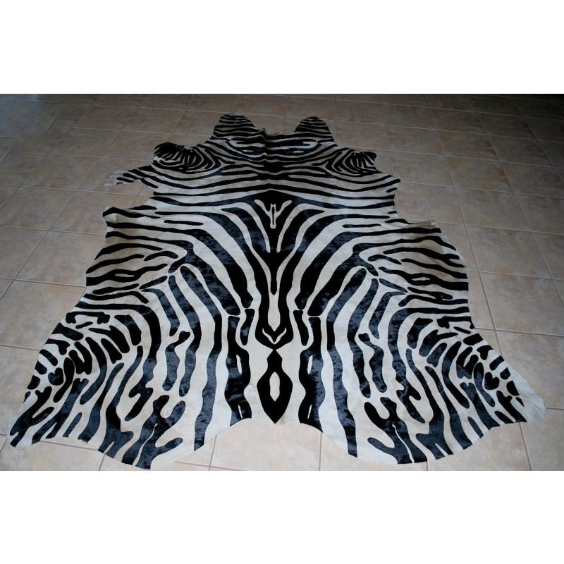 Cowhide Zebra Stencil Print Hide Skin Rug