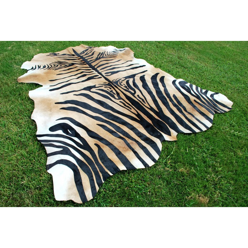 Zebra Stencil Light Brown Cowhide Rug