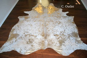 Cowhide Acid Wash Gold Rug Large