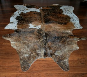 Cowhide Acid Brown Tricolor Gold Wash  Skin Rug
