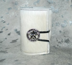 New Cowhide Bottle / Can Coozie - White
