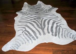 Cowhide Stencil Zebra Silver Skin Rug